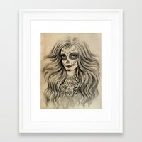 sugar skull Framed Art Prints featuring Sugar Skull by Vivian Lau
