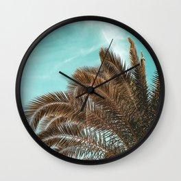 Summer Palm Leaf Print {1 of 3} | Teal Sun Sky Beach Vibes Tropical Plant Nature Art Wall Clock