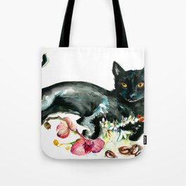 Coffee, Orchid and Black Cat Vintage Style Large Format XXL Tote Bag