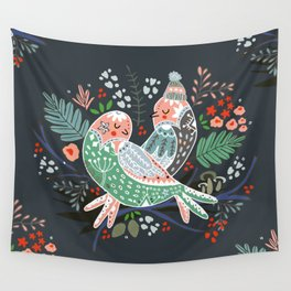 Holiday Birds Love Wall Tapestry