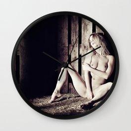 Very beautiful nude woman lying in the hay Wall Clock