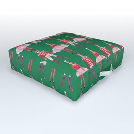 Nutcracker Ballet - Candy Cane Green Outdoor Floor Cushion