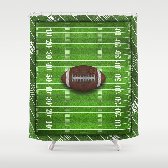 Football Field with Football Shower Curtain by skylinesquirrel ...