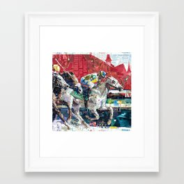 Abstract Race Horses Collage                                         Framed Art Print
