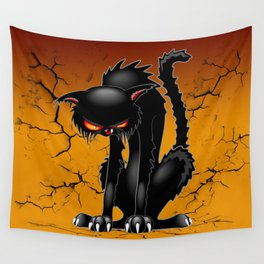 Black Cat Evil Angry Funny Character Wall Tapestry