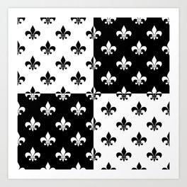 Black & white royal lilies (chessboard) Art Print