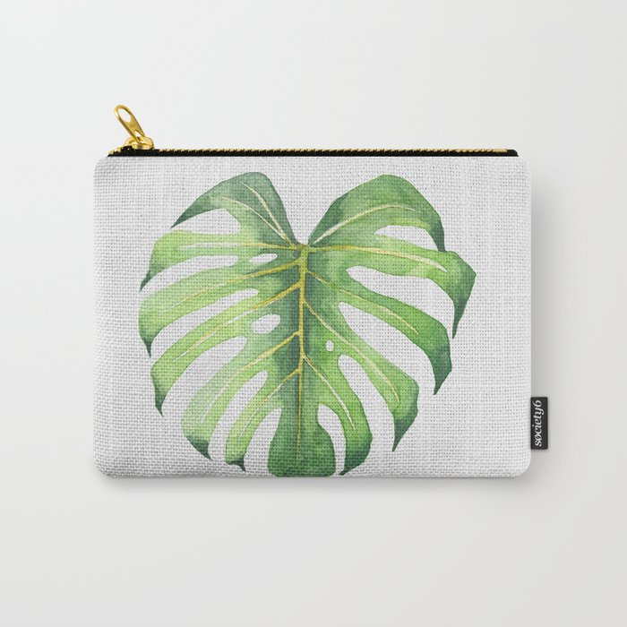 Tropical leaves: Monstera Carry-All Pouch