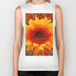 Grey Color & Brown Yellow Sunflower Art Design Biker Tank