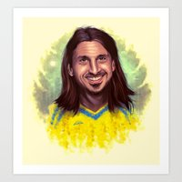zlatan Art Prints featuring Zlatan drawing art by Robin Gundersen