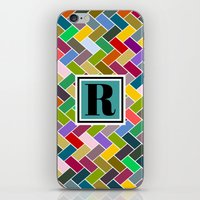 monogram iPhone & iPod Skins featuring R Monogram by mailboxdisco