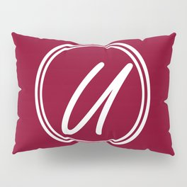 Monogram - Letter U on Burgundy Red Background Pillow Sham