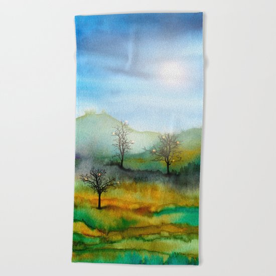 Christmas In The Woods Beach Towel