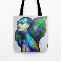 dead Tote Bags featuring Peacock Queen by Artgerm™