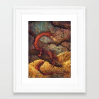 smaug Framed Art Prints featuring Dragons Lair by Angela Rizza