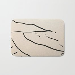A Minimalist Charcoal Drawing of Playa Vasca, Sopelana Beach, in the Basque Country, Spain Bath Mat