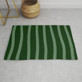 Paint Lines Vertical Greens Rug
