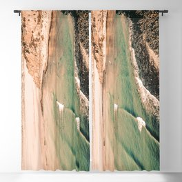 California Pacific Coast Highway // Vintage Waves Crashing on the Beach Teal Ocean Water Blackout Curtain