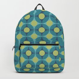 Geometric Circle Pattern Mid Century Modern Retro Blue Green Backpack