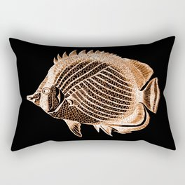 Fish nautical coastal in black background Rectangular Pillow