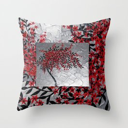 red black silver grey gray japanese painting Japan garland of flowers cherry blossom blossoms Throw Pillow