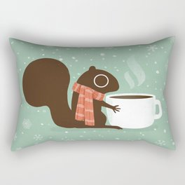 Cute Squirrel Coffee Lover Winter Holiday Rectangular Pillow