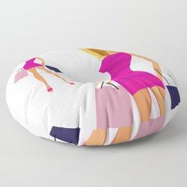 Girl vintage illustration : New girl in Shop Floor Pillow