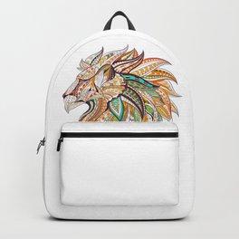 Ethnic Tribal Lion Doodle 01 Backpack