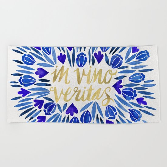 In Wine, There is Truth – Navy & Gold Beach Towel