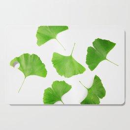 Green Ginkgo Biloba Isolated On White Background Cutting Board