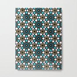 Persian Mosaic – Turquoise & Gold Palette Metal Print