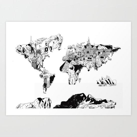 world map black and white Art Print
