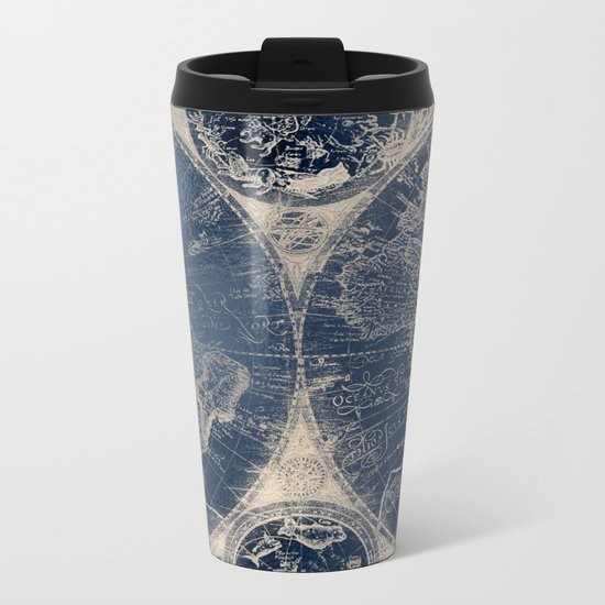 Antique World Map Gold Navy Blue Library Metal Travel Mug