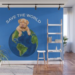 Save the world Bordeaux bulldog with Globus Wall Mural