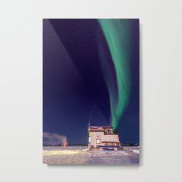 Northern Lights and house boat in Yellowknife Metal Print