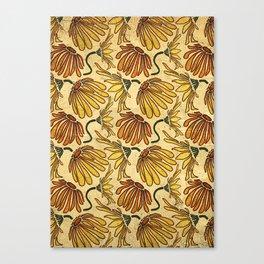 Retro 70's Golden Yellow Daisy Pattern  Canvas Print