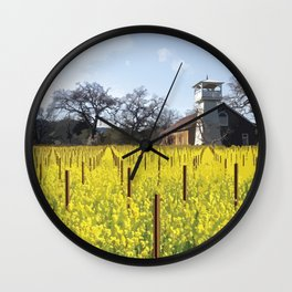 Water Tower & Mustard - Napa Valley - St. Helena District Wall Clock