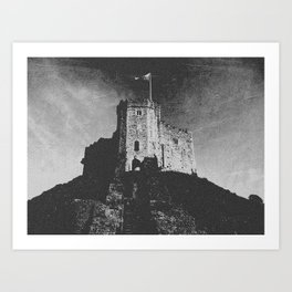 Cardiff Castle Keep Black and White-Wales #photography Art Print