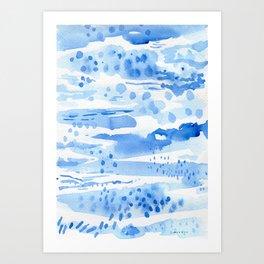 Landscape in blue Art Print