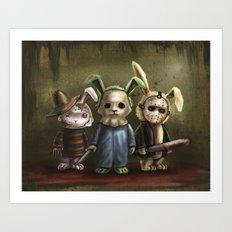 Horror Bunnies - Parody of Jason, Freddy and Michael Myers Art Print