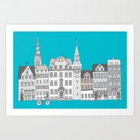 copenhagen Art Prints featuring Copenhagen by helena carrington