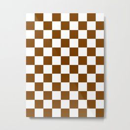 Checkered - White and Chocolate Brown Metal Print