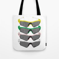 tour de france Tote Bags featuring Tour de France Glasses by Pedlin