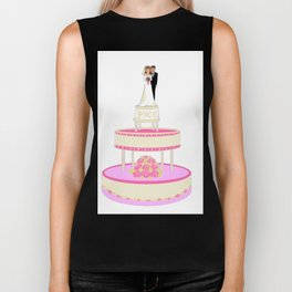 A Wedding Cake with Pink Roses, Bride and Groom Biker Tank