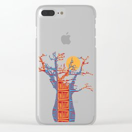 African Baobab tree of life at Sunset Clear iPhone Case