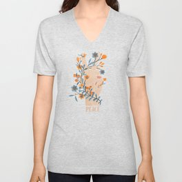 Peace Sign With Orange Flowers, Blue Flowers And Vines Unisex V-Neck