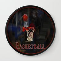 basketball Wall Clocks featuring Basketball by LoRo  Art & Pictures