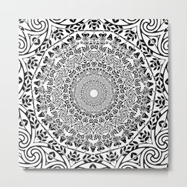 DEEP BLACK AND WHITE MANDALA Metal Print