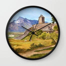 Friedrich Loos - The military guard house and the Josefsturm on the Salzburg Monchsberg - Digital Remastered Edition Wall Clock