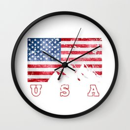 Mountain Climbing USA Flag of America Wall Clock