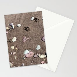 Paw prints on the beach Stationery Cards